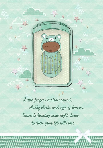 Swaddled Bundle Baby Boy Congratulations Card - Greeting Cards