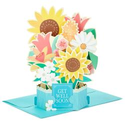First Sunflower Bouquet Pop Up Get Well Card Sunflower Bouquet Pop Up Get Well Card Greeting Cards Hallmark Get Well Cards Kids Get Well Cards To Color