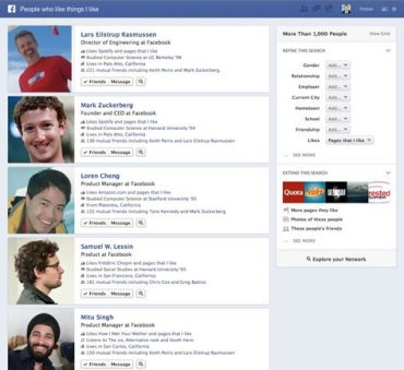Screenshot of Facebook's new Graph Search