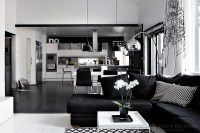 Elegant black and white interior design with comfortable ...