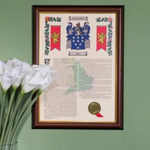 Coat of Arms and Surname History Print - Hall of Names