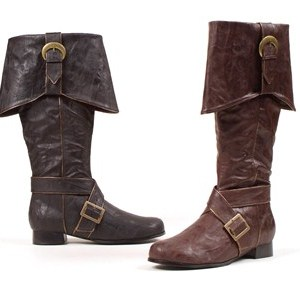 121-JACK, Men's Rustic Brown or Black Pirate Costume Boots