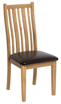 Oak Dining Chair with Brown Seat Pad | Hallowood