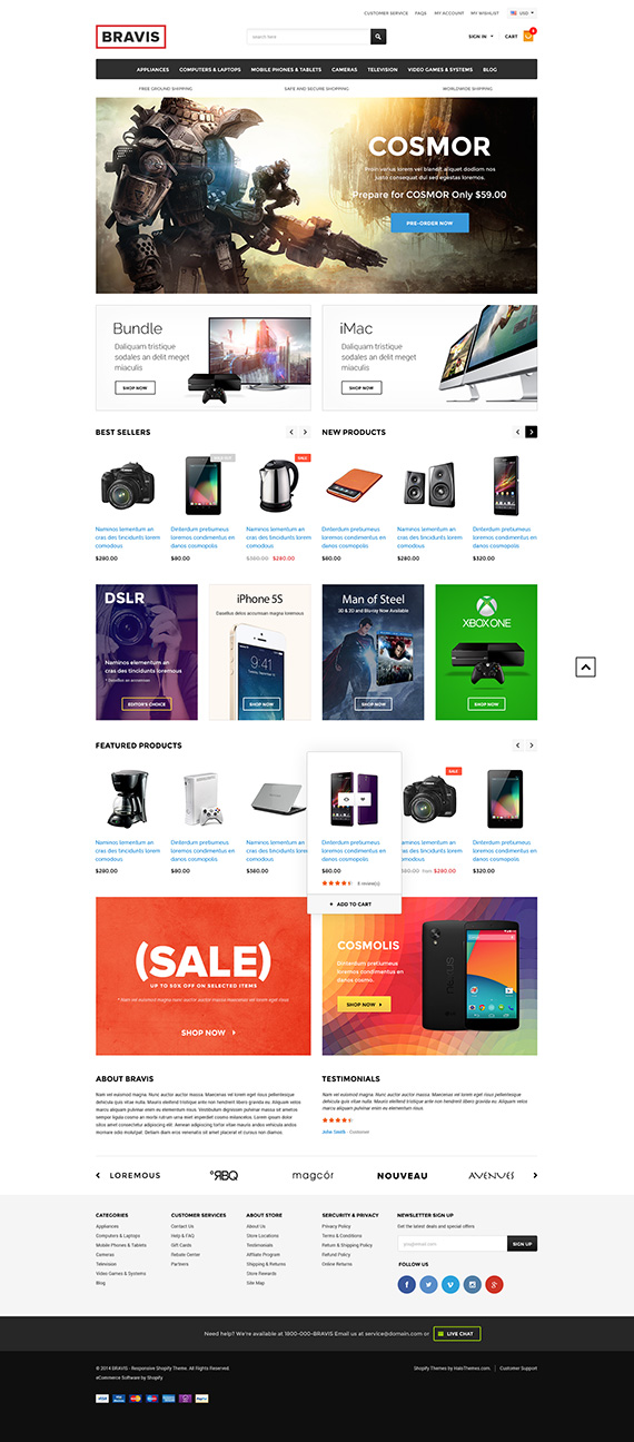 Bravis - Responsive Electronics Shopify Template (Sections Ready - shopify template