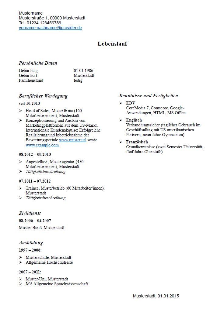 Lebenslauf: Muster Und Tipps - Hamburg.De