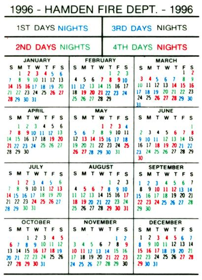 shift calendar 2019