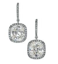 Diamond Cushion cut lisette earrings :: Hamilton Jewelers