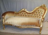 ROYALE SPOON BACKED CHAISE (shown in gold leaf with gold ...