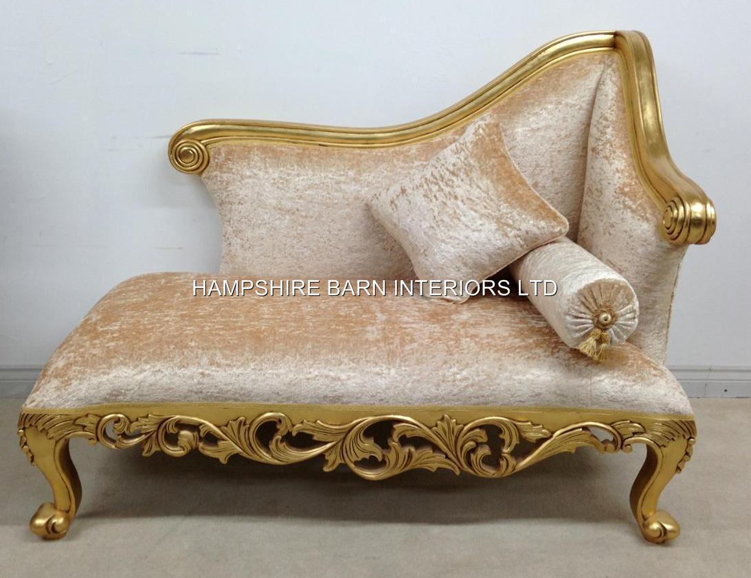 A Neoclassical Small Chaise Longue Sofa Ornate Gold Leaf