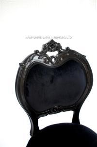French Chateau Noir Style Ornate Chair Black Velvet ...