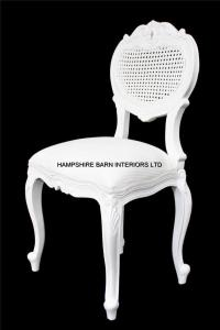Chateau French Style Boudoir Ornate White Chair RATTAN ...