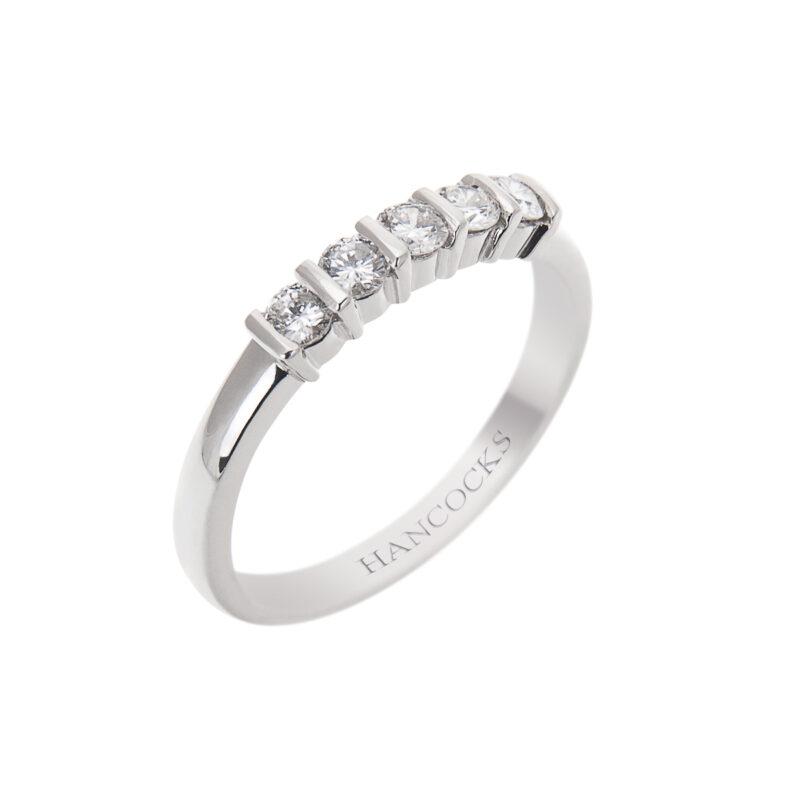 5 Stone Half Eternity Ring