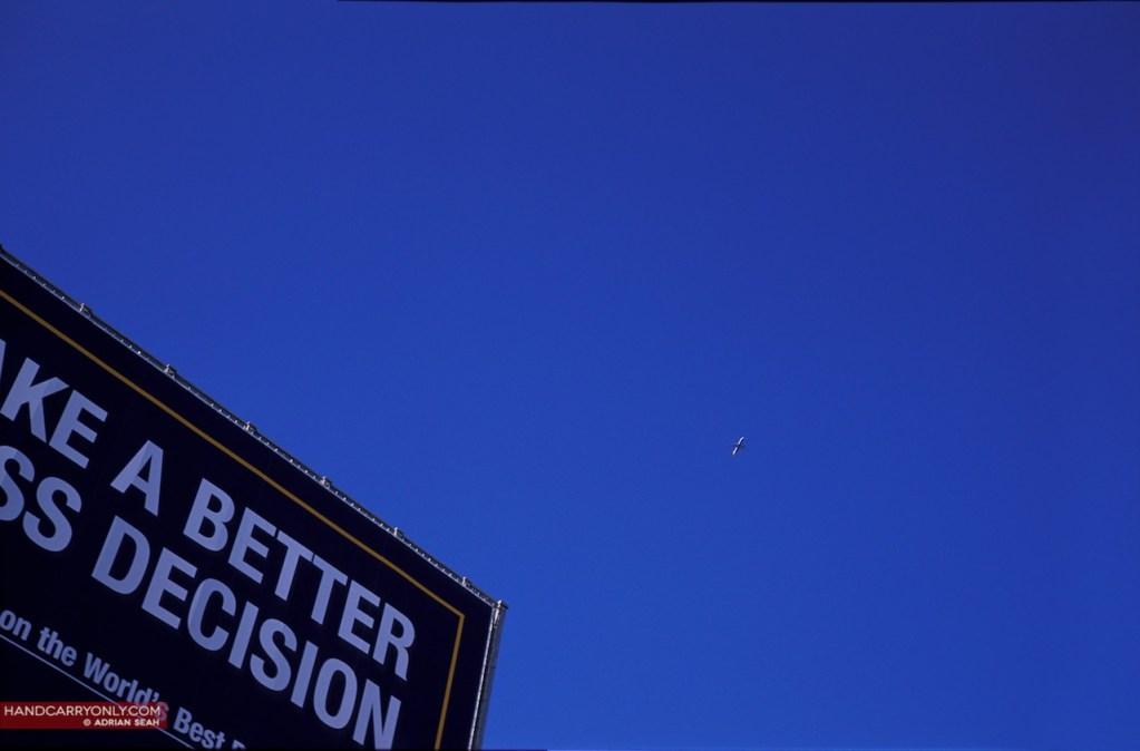 Billboard against blue sky