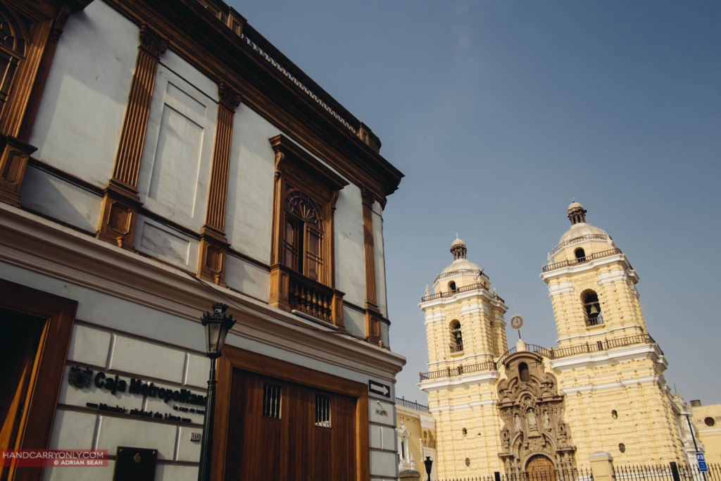 The beautiful architecture in the historic centre of Lima, with the Montastary of Saint Francis in the background