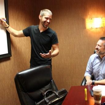 Dustin Blocker, CCO with John Snodgrass, VP Business Development: Hand Drawn Pressing feature, Dallas Observer 6.16.16 // Contributor Audrey Rodriguez