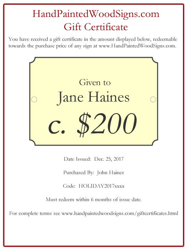 Gift Certificates HandPaintedWoodSigns - i owe you certificate