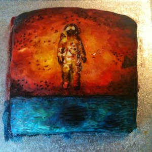 a cake painted with food colour to look like the cover of deja entendu by Brand New