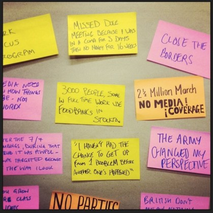 A picture of several post its bearing quotes from people we interviewed