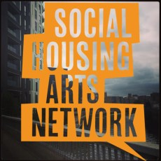 Social Housing Arts Network, SHAN, HARCA, Hannah Nicklin, art, community, games, Image of Limehouse Cut in Poplar, overlaid with the Social Housing Arts Network Logo