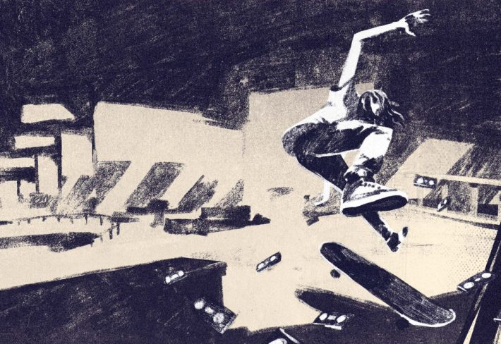 Generation Tony Hawk How a genre busting PlayStation game shaped the UK skate scene, for Read Only Memory, by Hannah Nicklin, Illustrations by Gabriele Brombin