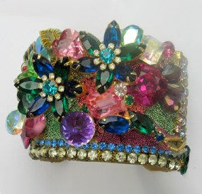 Blingy Jeweld Flower Garden wristy cuff bracelet by fashion jewelry designer Wendy Gellcuff bracelet by fashion jewelry designer Wendy Gell