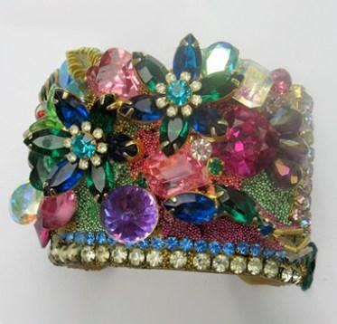 Blingy Jeweld Flower Garden wristy cuff bracelet by fashion jewelry designer Wendy Gellcuff bracelet by fashion jewelry designer Wendy Gell