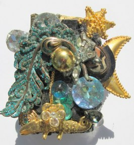 Golden Magic Lizard cuff bracelet by fashion jewelry designer Wendy Gell