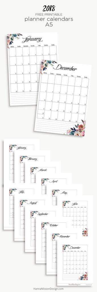 Free Yearly Calendar \u2013 Hanna Nilsson Design