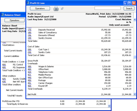 HansaWorld - Integrated ERP and CRM - profit and loss report sample