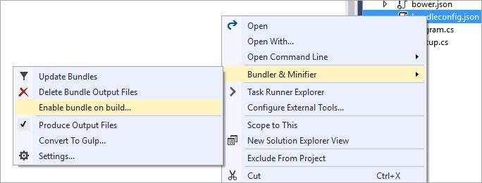 Enable bundle on build