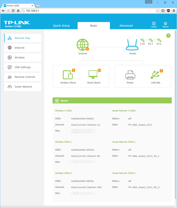 TP-Link AC3200 (Archer C3200) Wireless Router UI