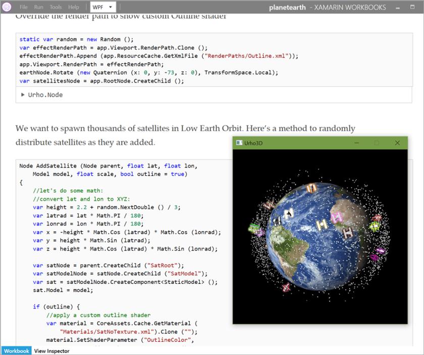 3D Earth in Xamarin Workbooks
