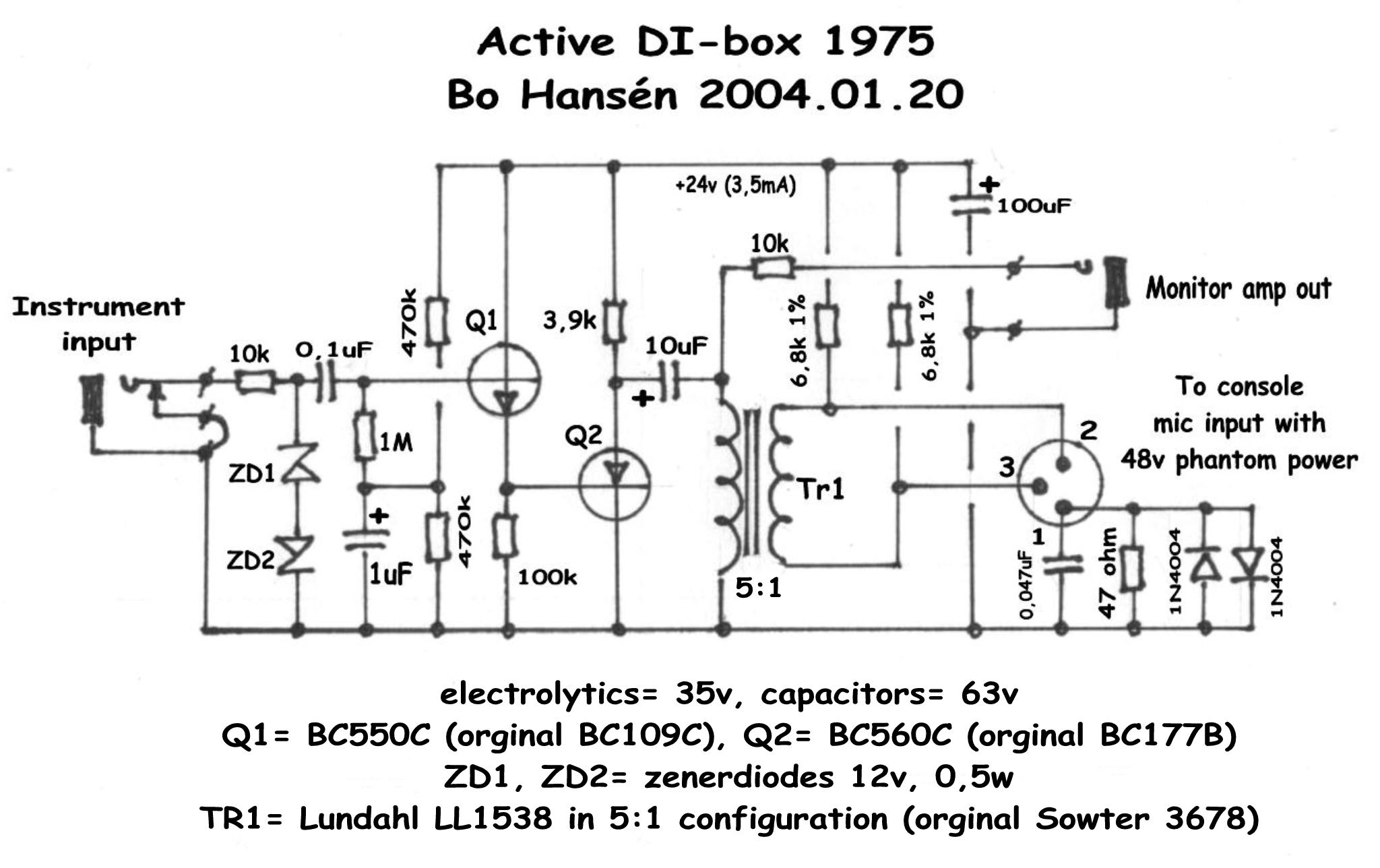 circuit diagram active direct input box