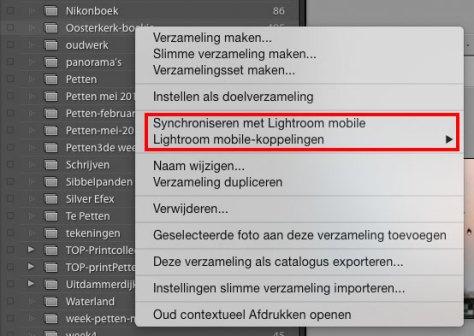 Je  kunt een bestaande verzameling in Lightroom Desktop laten synchroniseren met Lightroom Mobile. Rechtsklik op de verzameling die je wilt synchroniseren en kies voor Synchroniseren met Lightroom Mobile.