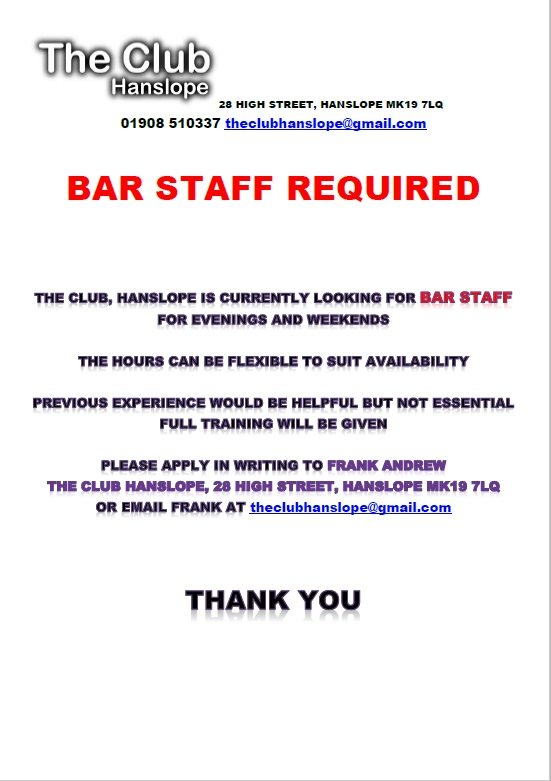Bar Staff required at The Club, Hanslope Hanslope Village Website