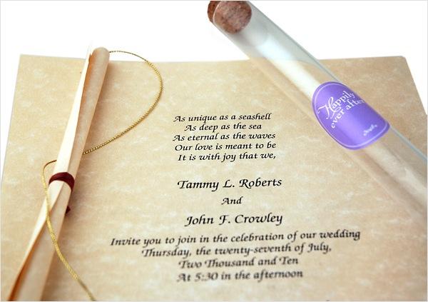 Wedding Beach Invitation Scroll GlassTube HansonEllis