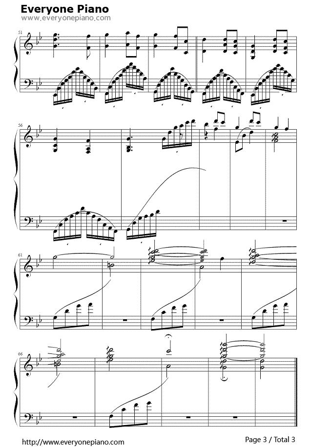《穿越時空的思念》 (犬夜叉插曲)鋼琴譜第3張