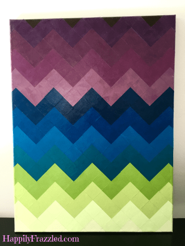 How to make your own DIY art with a scrapbook paper chevron mosaic | HappilyFrazzled.com