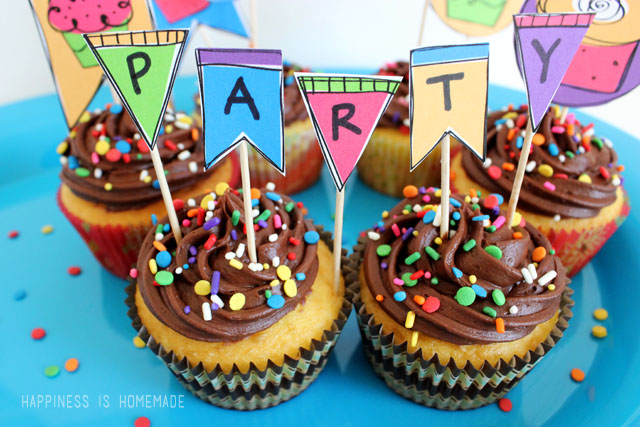 Dress Up Basic Cupcakes with Rainbow Birthday Party Printables