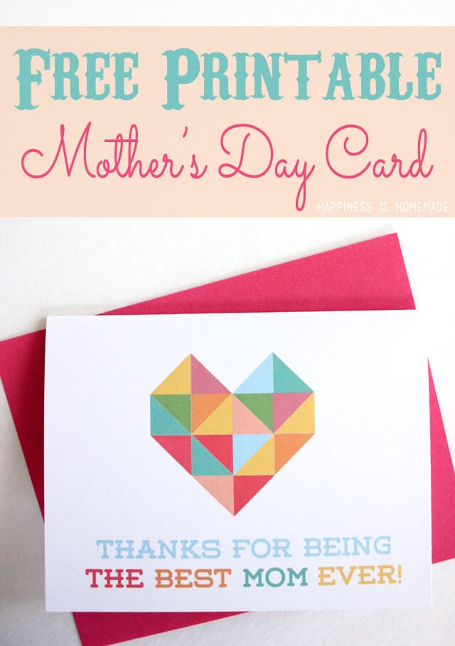 Geometric Heart Printable Mother\u0027s  Father\u0027s Day Cards - Happiness