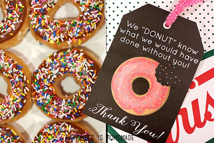 Free Printable Donut Thank You Gift Tags - Happiness is Homemade