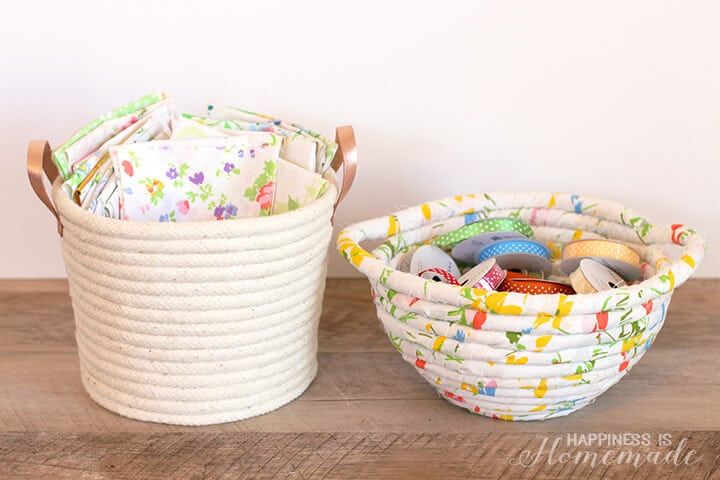 Diy No Sew Rope Baskets Happiness Is Homemade