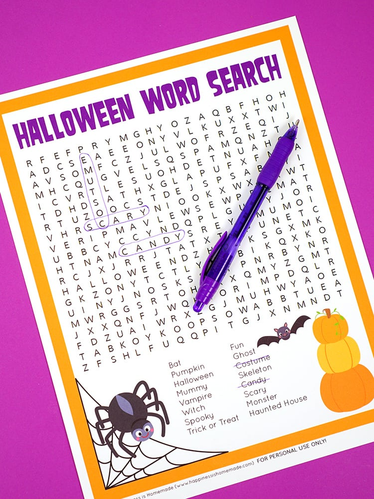 Halloween Word Scramble - Happiness is Homemade