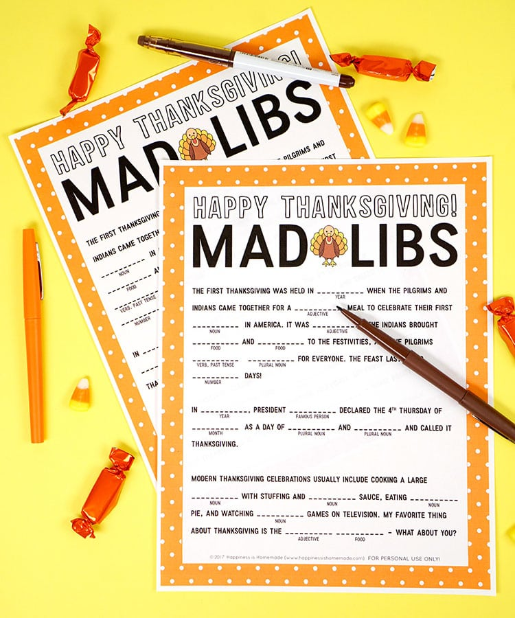 Thanksgiving Mad Libs Printable Game - Happiness is Homemade