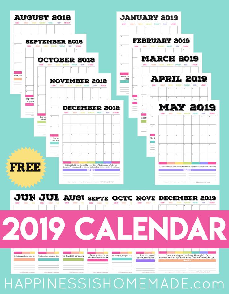 2019 Free Printable Calendar - Printable Monthly Calendar