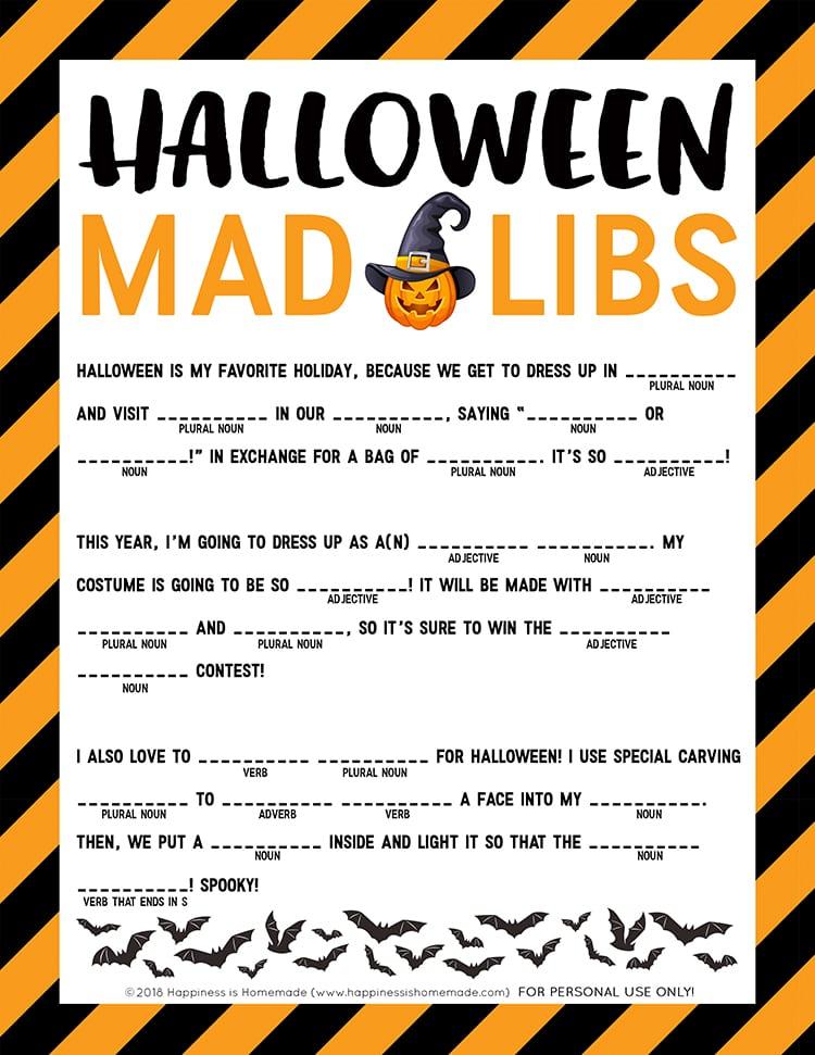 Halloween Mad Libs Printable - Happiness is Homemade