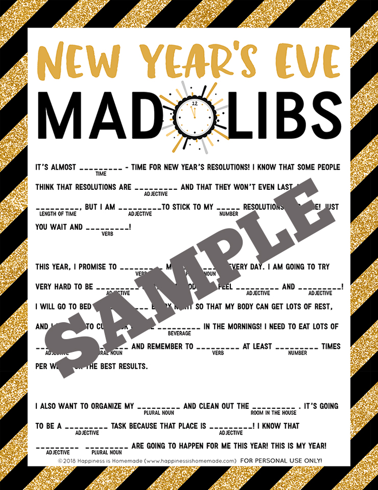 New Year\u0027s Eve Mad Libs Printable - Happiness is Homemade