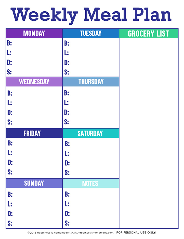 Printable Weekly Meal Planner Template - Happiness is Homemade