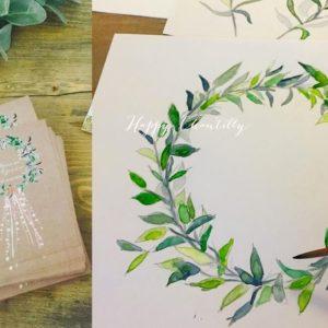 faire-partmariage-couronne-feuilles-aqaurelle-illustratrice-dentelle-lin-happy-chantilly