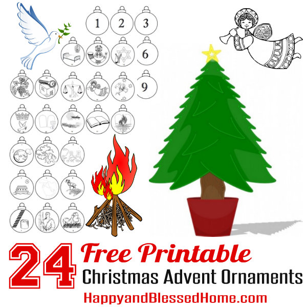 FREE Advent Calendar and Advent Christmas Ornaments Craft for Kids - free christmas tree templates